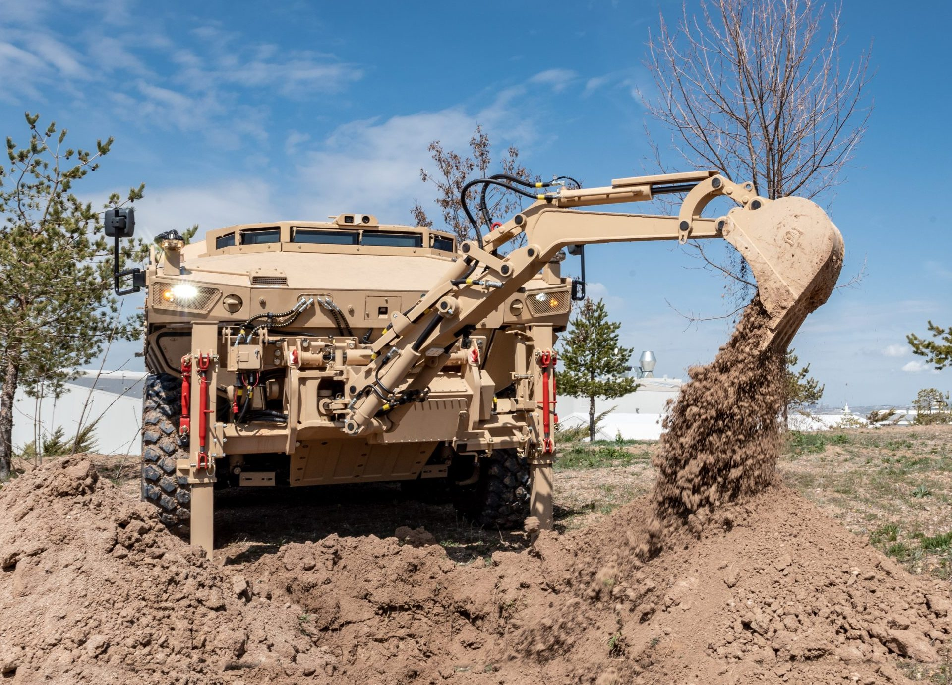 The Excavator Manipulator Arm is positioned to dig, demolish, remove obstacles and fill trenches.